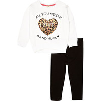 River Island Mini girls love sweatshirt and legging outfit