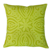 "16"" Yellow Indian Sequin Cotton Cutwork Floral Throw Pillow"