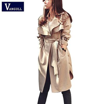 Spring Autumn Women Trench Coat 2016 New Fashion Long Outwear Plus Size Waist Slim Trench Coat for Women With Belt Spring Coat