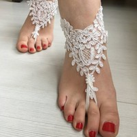 Ivory  Barefoot Sandals, Wedding barefoot, Bridal  Shoes, Beach wedding, foot jewelry  Bridesmaid sandals, Bridal Barefoot sandals