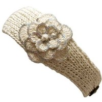Luxury Divas Ivory Crochet Headband With Sequin Flower Detail