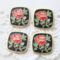 Vintage Red Rose Flower on Black Enamel Cabochons Gold Tone Square 12mm
