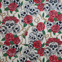 Skulls Red Rose Tattoo Bones Thorns Tea Cream AH Cotton Fabric