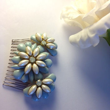 Handmade Sky Blue Opal and Pearl Floral Embellished Vintage Inspired Bridal Hair Comb Pin