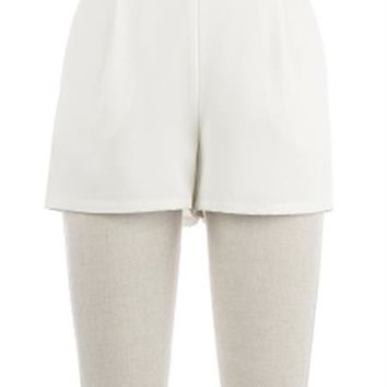 White Crepe Shorts with Elastic Waist