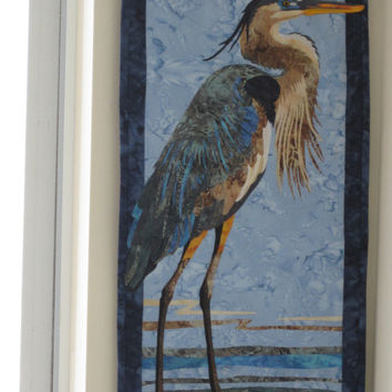 Great Blue Heron Wall Art - Applique - Batik - Nature's Colors - 14 x 29 inches - Perfect for That Narrow Piece of Wall You Have
