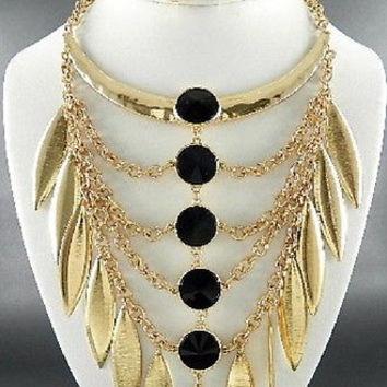 "19"" gold blk crystal choker collar bib boho necklace earrings statement chunky"
