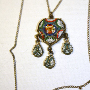 Art Deco Necklace Micro Mosaic 1920s Jewelry Italy by patwatty