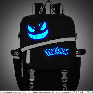 Free Shipping New Fashion sac a dos Noctilucent Pokemon Backpack Boy Girl School Bags For Teenagers Gengar Bag Canvas Backpacks