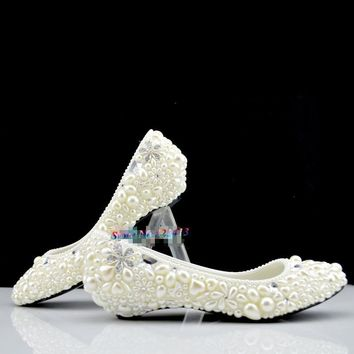 Handmade ivory pearl wedding shoes low-heeled and high heels shoes white  dress bridal shoes 817fd75e3e1b