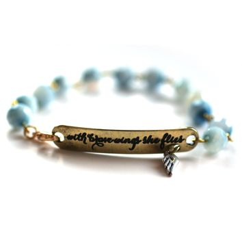 With Brave Wings She Flies Bracelet // Delicate Gemstone Bead Bracelet // Motivational Gift