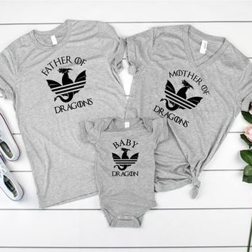 Mother of Dragons - Father of Dragons - Baby Dragon - Family GoT Set - Game of Thrones - Family Shirt Set - fathers day - mothers day-SVG