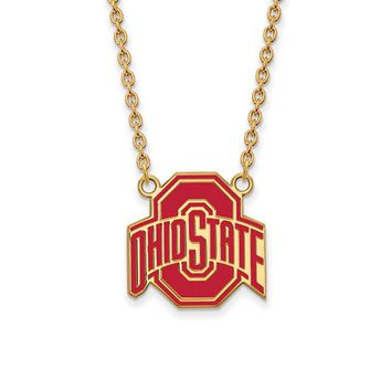 NCAA 14k Gold Plated Silver Ohio State Large Enamel Pendant Necklace
