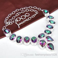 925 sterling silver natural stone mystic topaz crystal necklace jewelry N0097