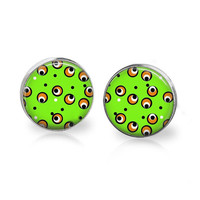 Lime Green and Black Monster Eyeball Earrings Halloween Earring Halloween Jewelry Monster Jewelry Witches Brew Cauldron Spell Potion Studs
