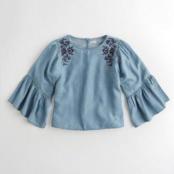 Girls Embroidered Oversized Ruffle-Sleeve Top | Girls New Arrivals | HollisterCo.com
