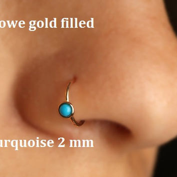 Nose ring/Piercing hoop/Nostrill/Ear/Tragus/Cartilage/Conch/Yellow gold filled 14kt/Silver/22g/20g/18g/16g/Stone 2 mm/Turquoise/handmade/