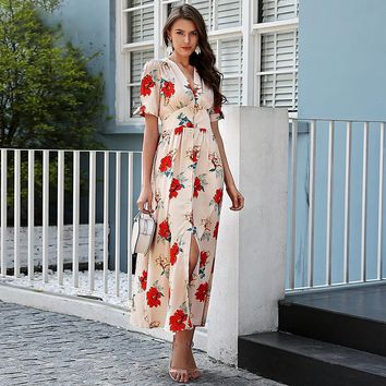 8DESS Floral print dress long V neck knotted short sleeve maxi dress women Streetwear button beach casual dress