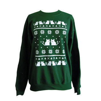 Ugly Christmas Sweater - Cat Sweatshirt - Unisex Sizes S, M, L, XL