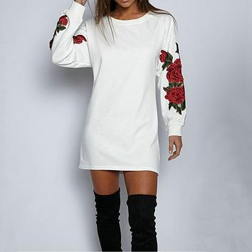 Women Winter Harajuku Vintage Long Hoodie Dress Sexy Long Sleeve Tracksuit Embroidery Hoodies Casual Loose Sweatshirts Vestidos