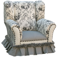 Angel Song 101220127 Toile Black Child Wingback Chair
