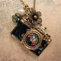 Take a picture a camera necklace adorned with by trinketsforkeeps