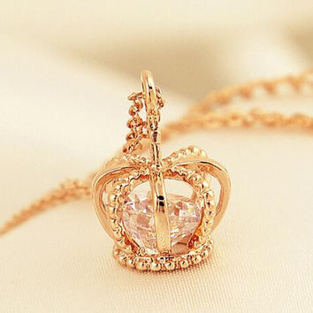 Extra Crown Zircon Clavicle Chain Necklace + gift box