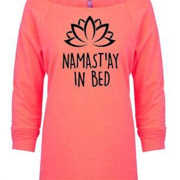 Namast'ay In Bed Terry Raw Edge 3/4 Slv Raglan - slouchy top, yoga clothes, workout top, boho style, bohemian clothing