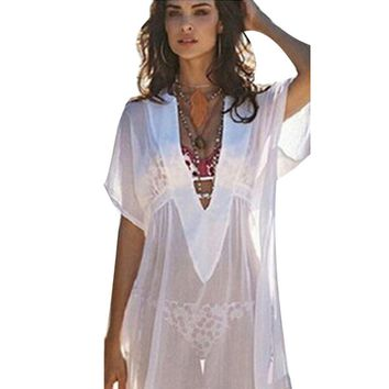 Women Chiffon Cover Up Swimsuit Swimwear Summer Solid Sexy V-Neck Beach Dress Bathing Suit Sunscreen Cover-Ups