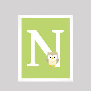 Monogram First Initial Woodland Forest Animal Owl Wall Art CUSTOMIZE YOUR COLORS 8x10 Prints nursery decor nursery print baby room decor
