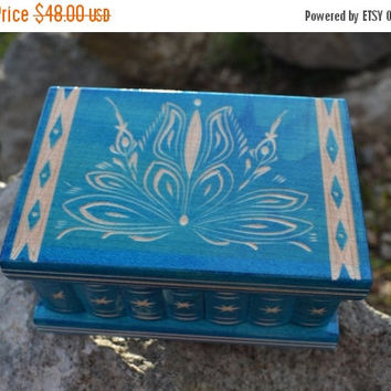 ON SALE Turquoise wooden jewelry box treasure chest trinket box wooden box jewelry holder vintage jewelry box rustic box vintage storage pil