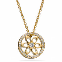 pave signature disc pendant necklace