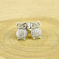Silver Owl Stud Earrings with Cubic Zirconia