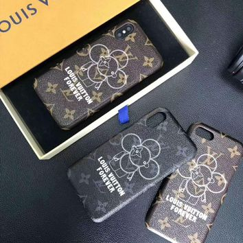 LV tide brand classic Monogram men and women leather iphone6plus mobile phone shell