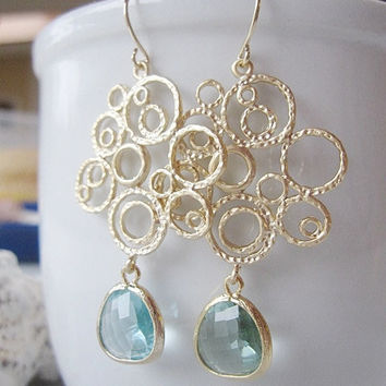 Gold Circle Chandelier Earrings- Acquamarine Faceted Glass - Wedding Jewelry - Fashion Statement