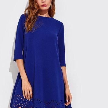 Scallop Laser Cut Hem Swing Dress Royal Blue Three Quarter Length Sleeve Zipper Back Casual Straight Dress