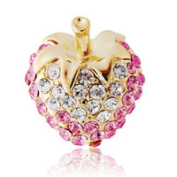 DINGYA Stellux Austrian Crystal Decorated Strawberry Shaped Collar Brooch (Pink)