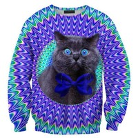 Psychedelic Trippy Kitty Cat Face Graphic Print Unisex Pullover Sweatshirt