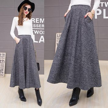 Autumn And Winter Long Skirt Women Vintage Woolen Skirt High Waist Saia Faldas Wool Pleated Skirts Womens Warm Maxi Skirt C2560