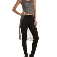 Gray Combo High-Low Sweater Knit Tank Top by Charlotte Russe