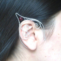 Silver Plated Handmade Wire Wrapped Dark Red Crackle Glass Elf Ear Cuffs. Wire Weave, Pixie Ears, LARP, Faery Ear Cuffs