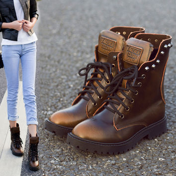 On Sale Leather Winter Rivet Vintage England Style Boots [9393880644]