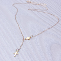 """Cross lariat necklace, gold lariat necklace, tiny cross necklace, 14k gold filled jewelry, protection necklace, best friend gift, """"Meliades"""""""