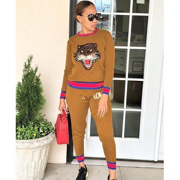 GUCCI Fashionable Women Casual Tiger Head Sequins Top Pants Trousers Set Two-Piece Sportswear Brown