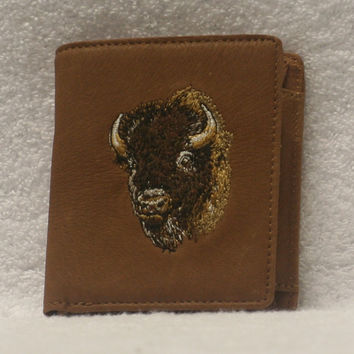 Leather Euro Wallet - Bison Head