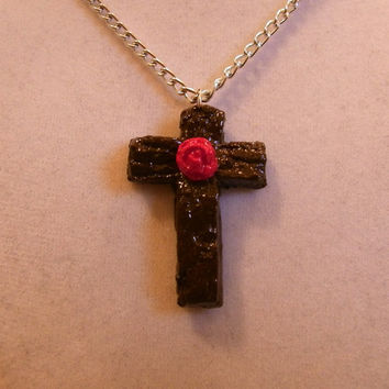 Brown Cross with Rose Necklace, red, holy, rosary, shiny, easter, ooak, crucifix, rosery, catholic, christian, unique jewelry jewellery clay