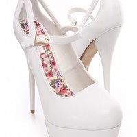 White Faux Leather Maryjane Platform Heels