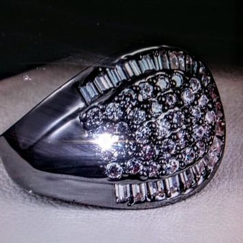 Black Gold Crystal Spoon Ring