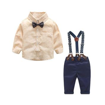 Formal Baby Boy Clothing Set Autumn Stripe Long Sleeve Bow Tie T-shirt Suspenders Pants Cotton Baby Clothes