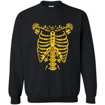 SKELETON    Halloween Costume Mexican Day Of The Dead Printed Crewneck Pullover Sweatshirt